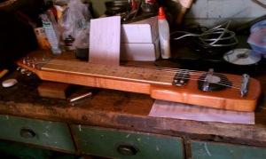 feedback lap steel on the workbench